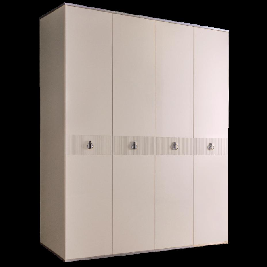 Шкаф 4-дверный для платья и белья (без зеркал) Rimini Solo Бежевый/серебро