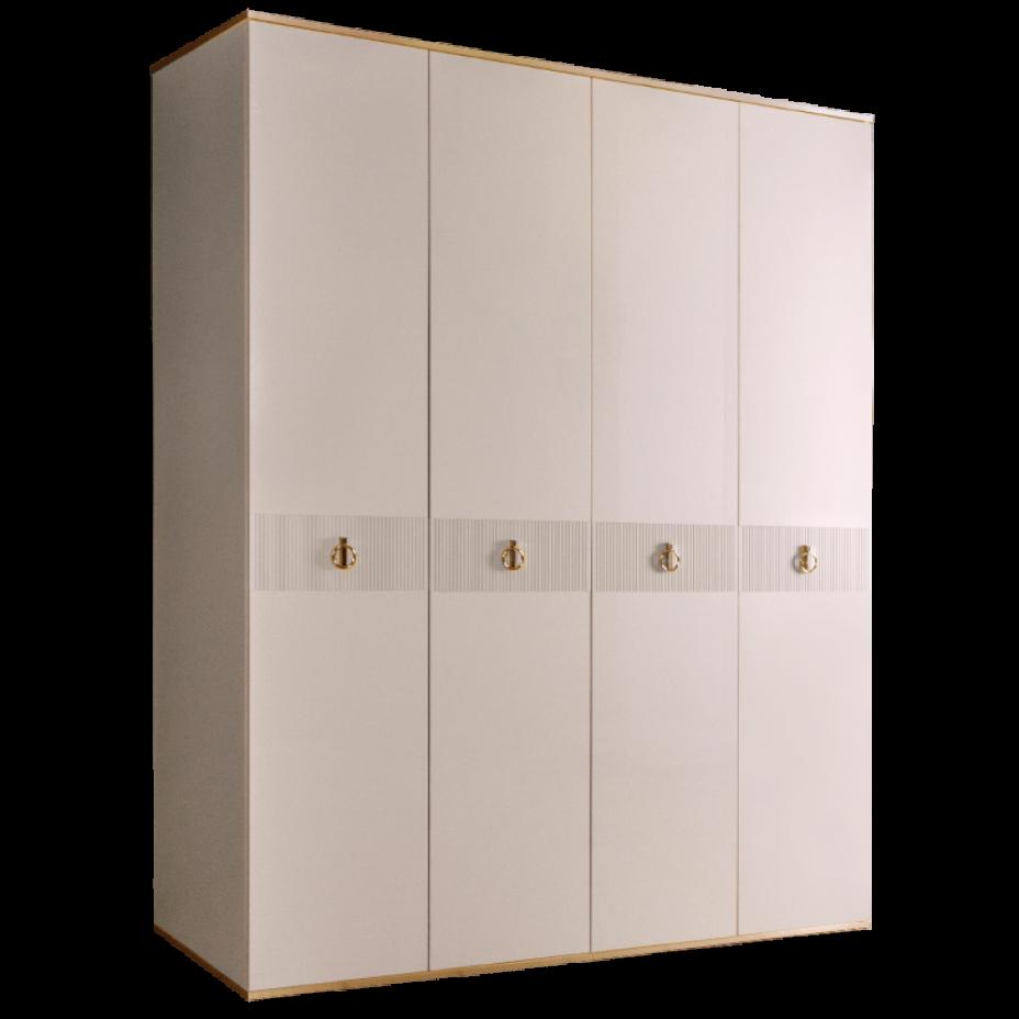 Шкаф 4-дверный для платья и белья (без зеркал) Rimini Solo Слоновая кость/Золото
