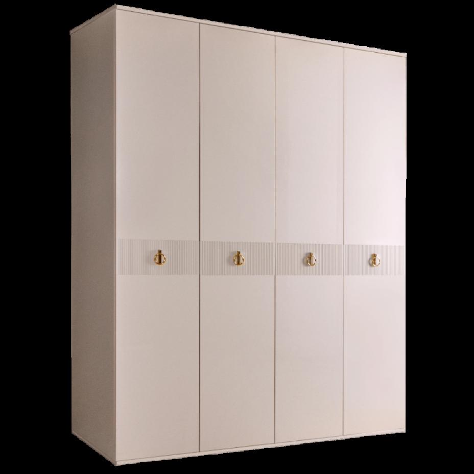 Шкаф 4-дверный для платья и белья (без зеркал) Rimini Solo Слоновая кость/Серебро