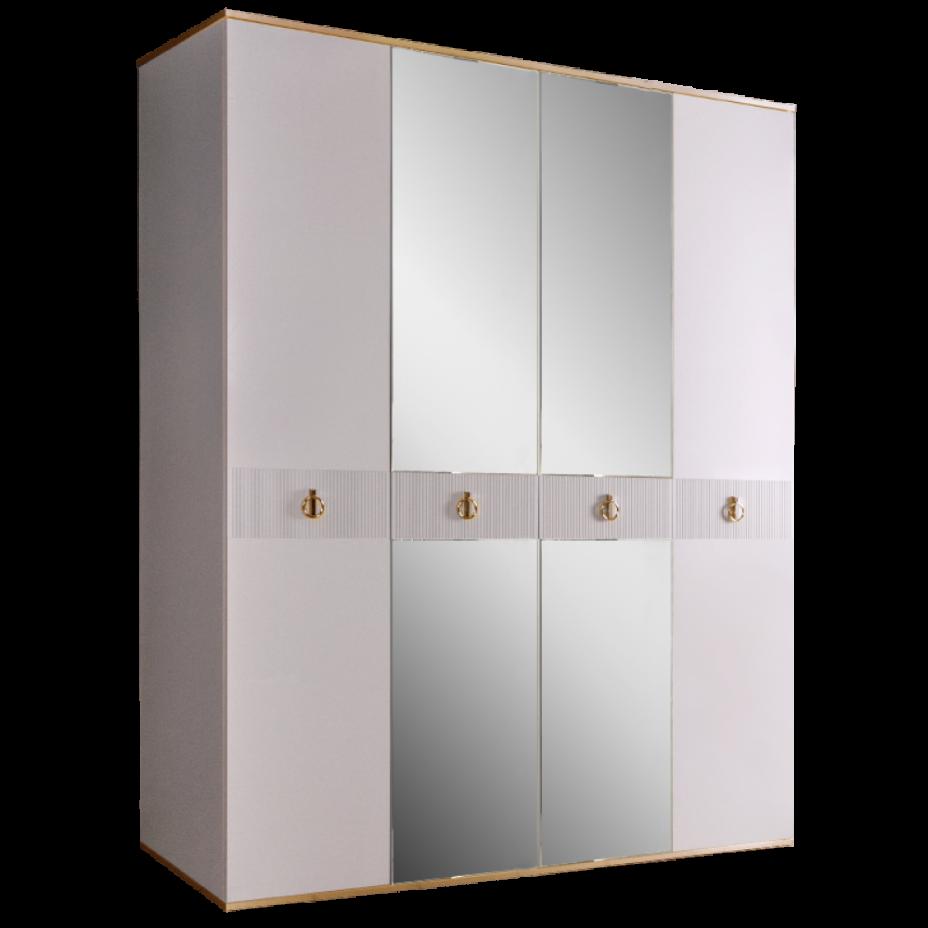 Шкаф 4-дверный для платья и белья (с зеркалами) Rimini Solo Белый/Золото