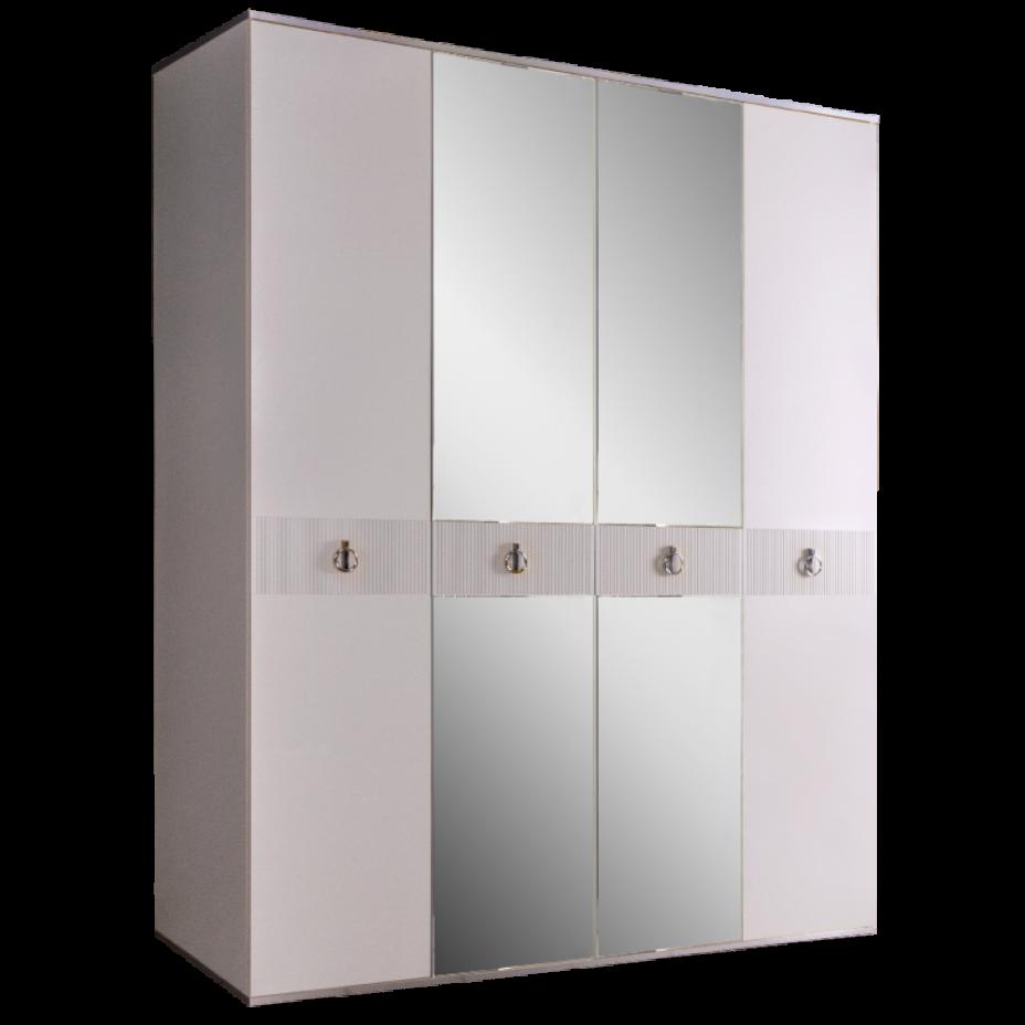 Шкаф 4-дверный для платья и белья (с зеркалами) Rimini Solo Белый/Серебро
