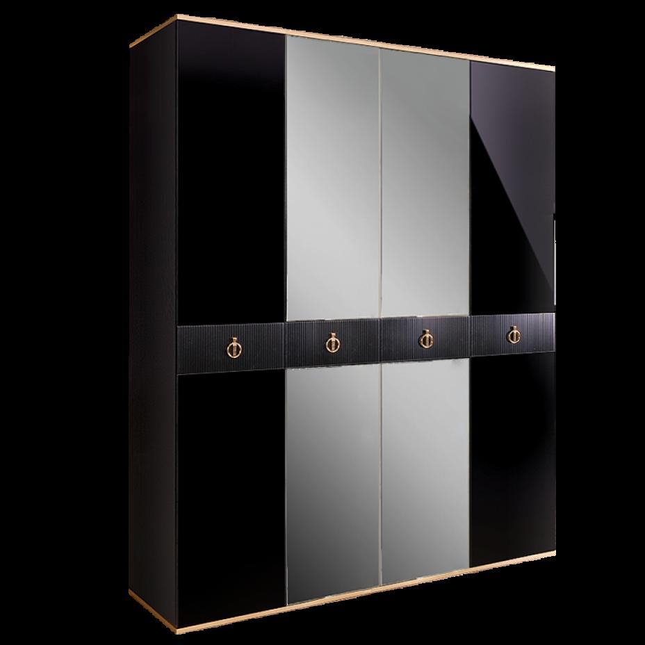 Шкаф 4-дверный для платья и белья (с зеркалами) Rimini Solo Черный/золото