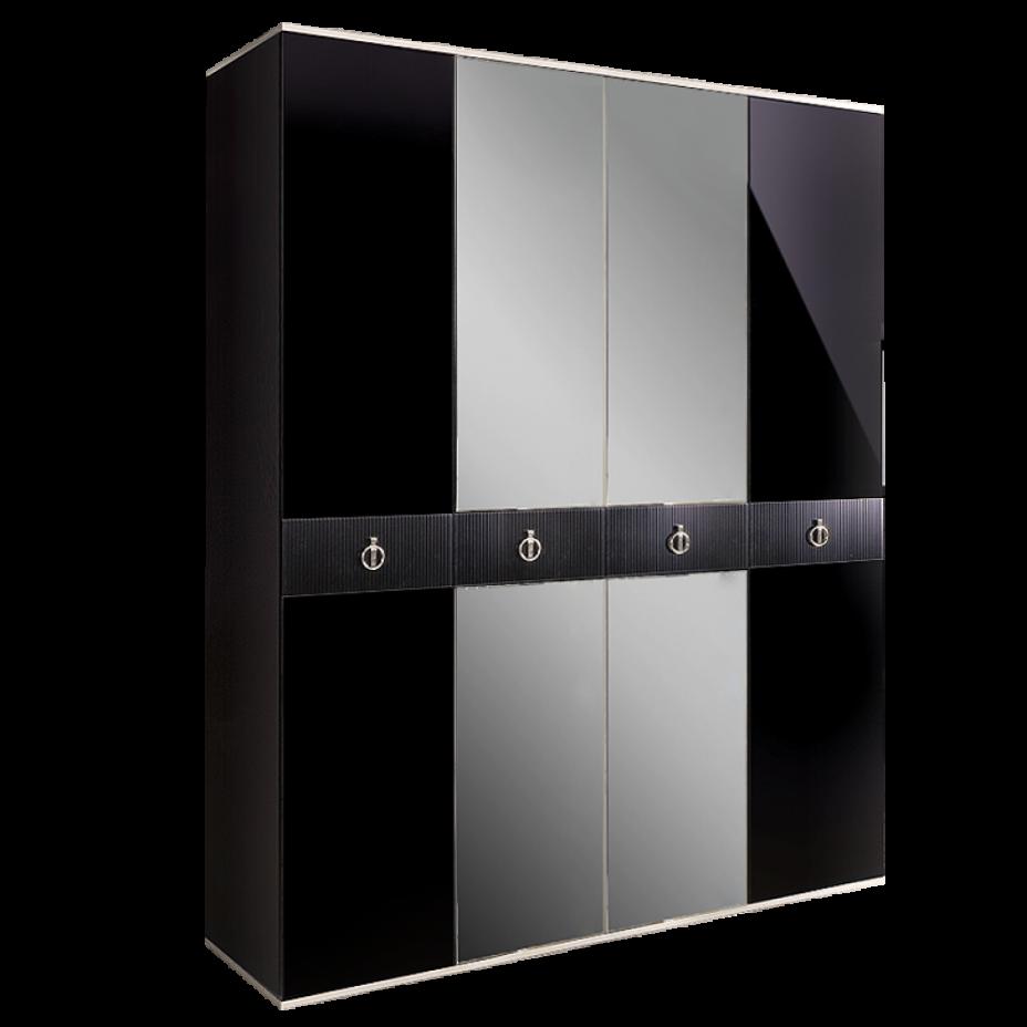 Шкаф 4-дверный для платья и белья (с зеркалами) Rimini Solo Черный/серебро