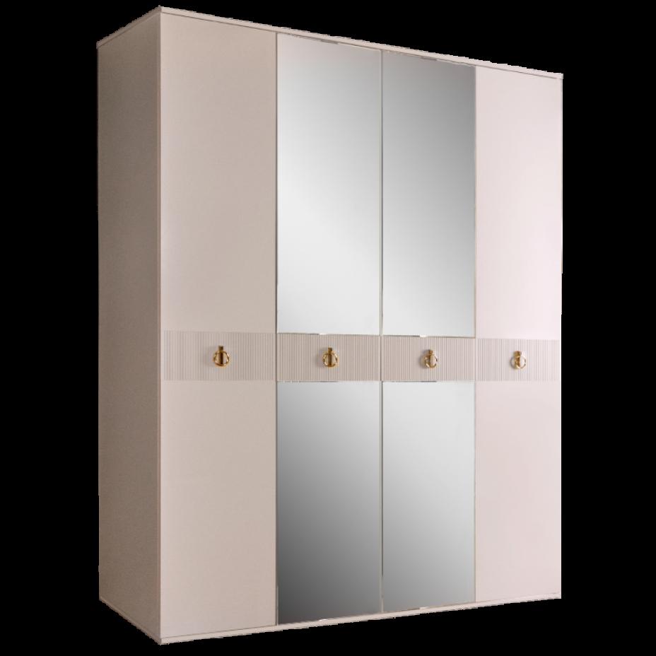 Шкаф 4-дверный для платья и белья (с зеркалами) Rimini Solo Бежевый/золото