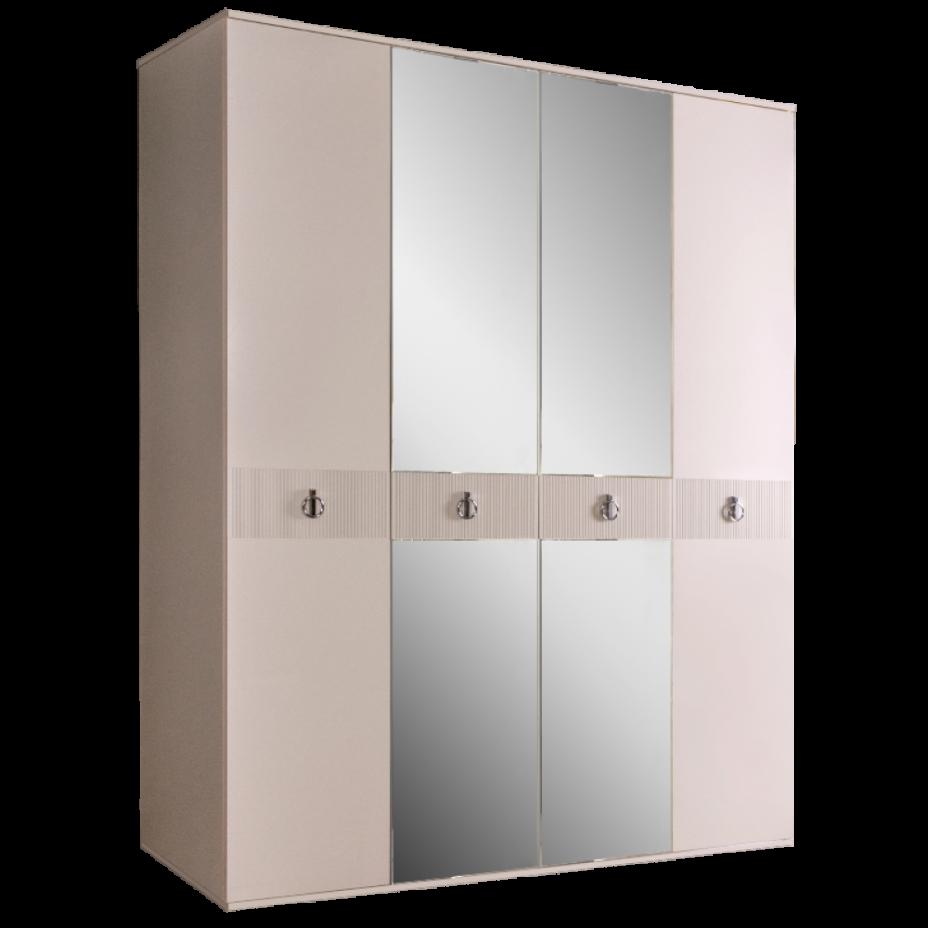 Шкаф 4-дверный для платья и белья (с зеркалами) Rimini Solo Бежевый/серебро