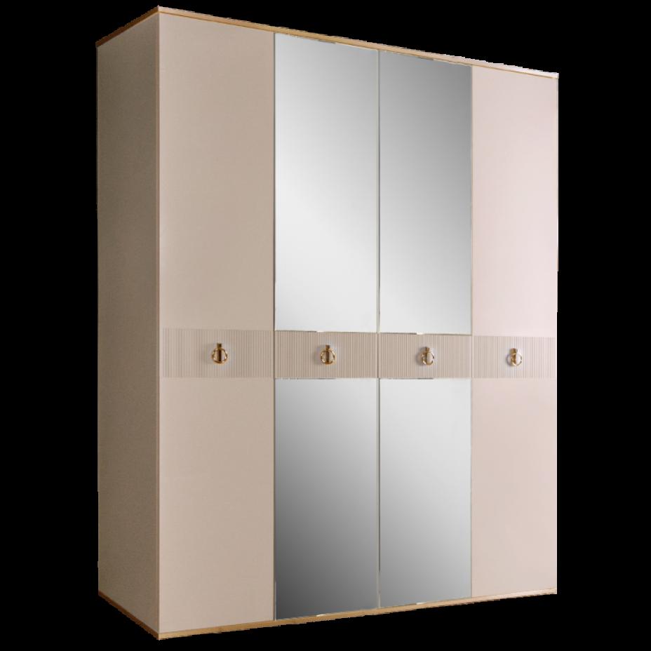 Шкаф 4-дверный для платья и белья (с зеркалами) Rimini Solo Слоновая кость/Золото