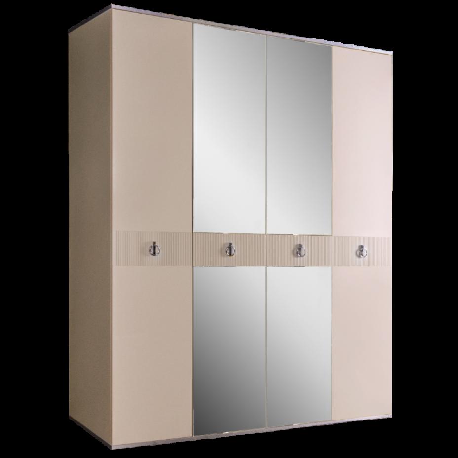 Шкаф 4-дверный для платья и белья (с зеркалами) Rimini Solo Слоновая кость/Серебро