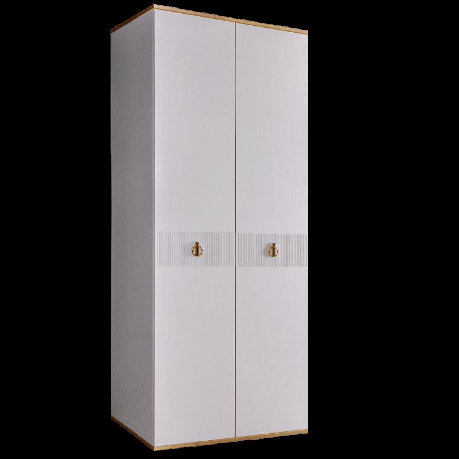 Шкаф 2-дверный для платья и белья (без зеркал) Rimini Solo Белый/Золото