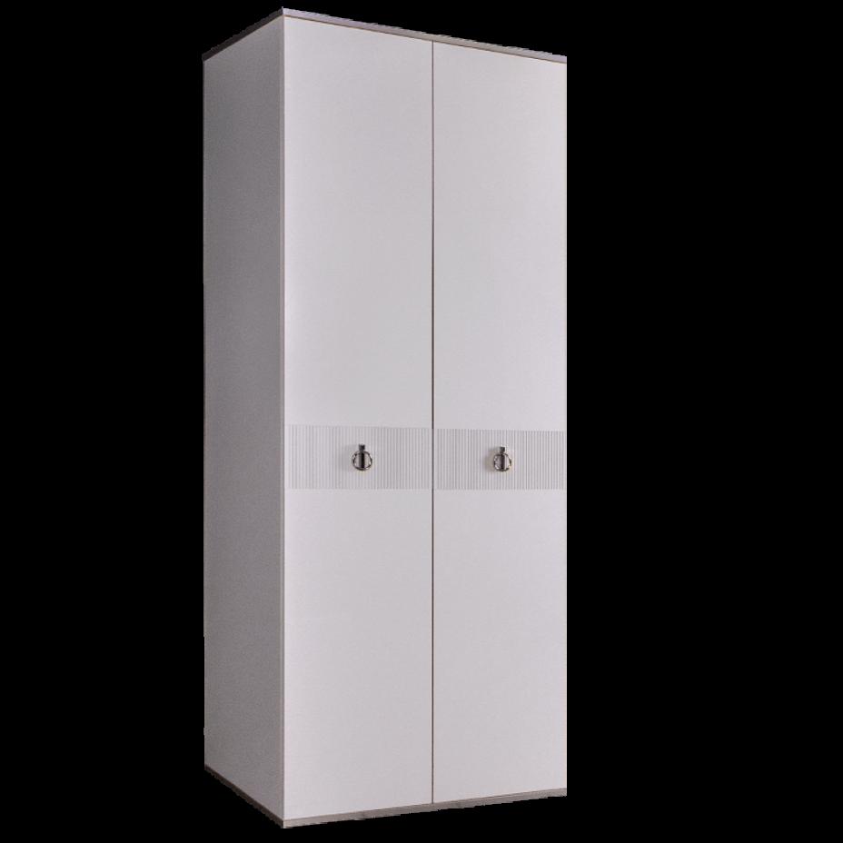 Шкаф 2-дверный для платья и белья (без зеркал) Rimini Solo Белый/Серебро