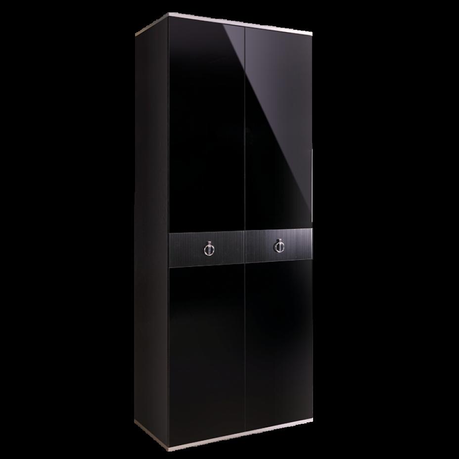 Шкаф 2-дверный для платья и белья (без зеркал) Rimini Solo Черный/серебро
