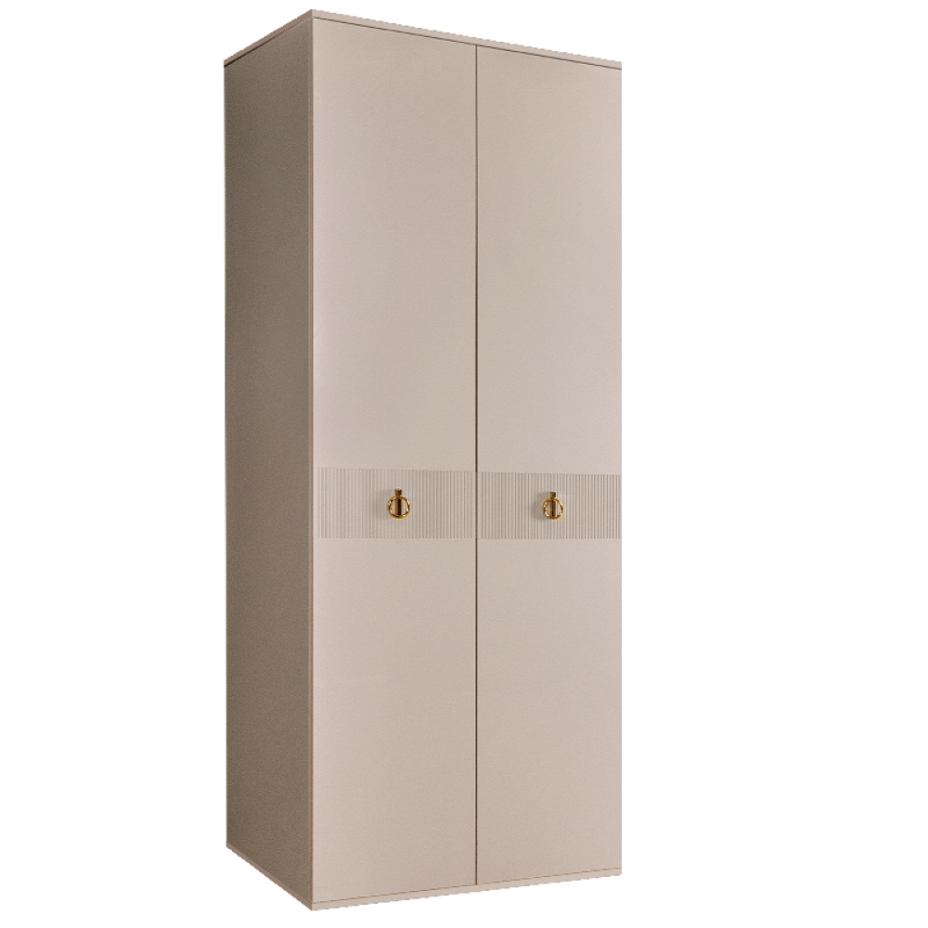 Шкаф 2-дверный для платья и белья (без зеркал) Rimini Solo Бежевый/золото