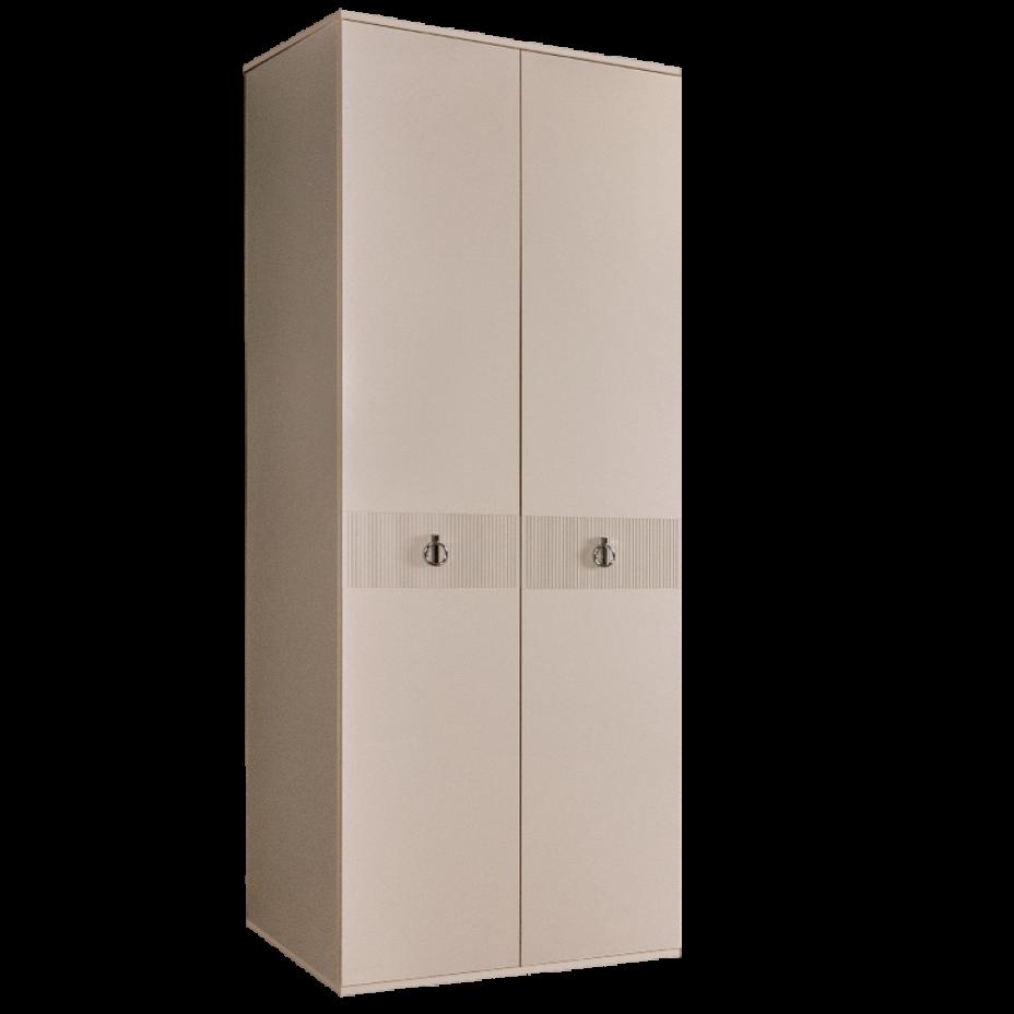 Шкаф 2-дверный для платья и белья (без зеркал) Rimini Solo Бежевый/серебро