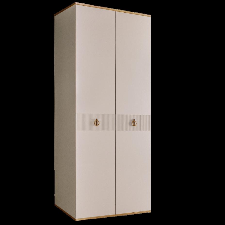 Шкаф 2-дверный для платья и белья (без зеркал) Rimini Solo Слоновая кость/Золото