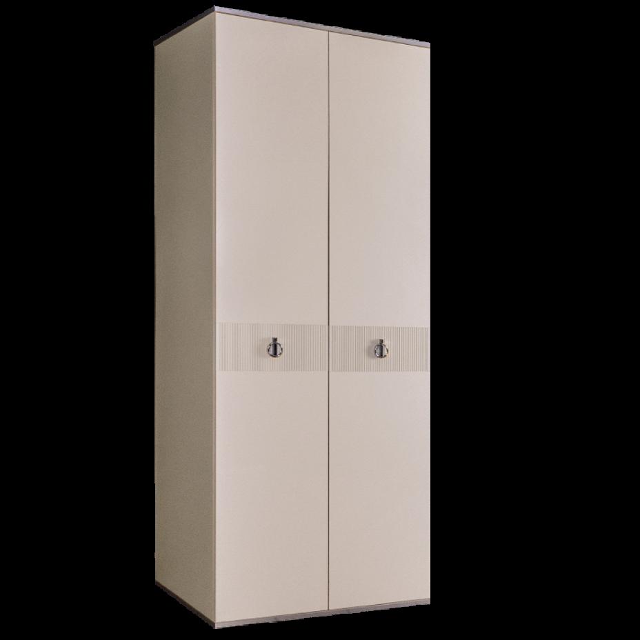 Шкаф 2-дверный для платья и белья (без зеркал) Rimini Solo Слоновая кость/Серебро