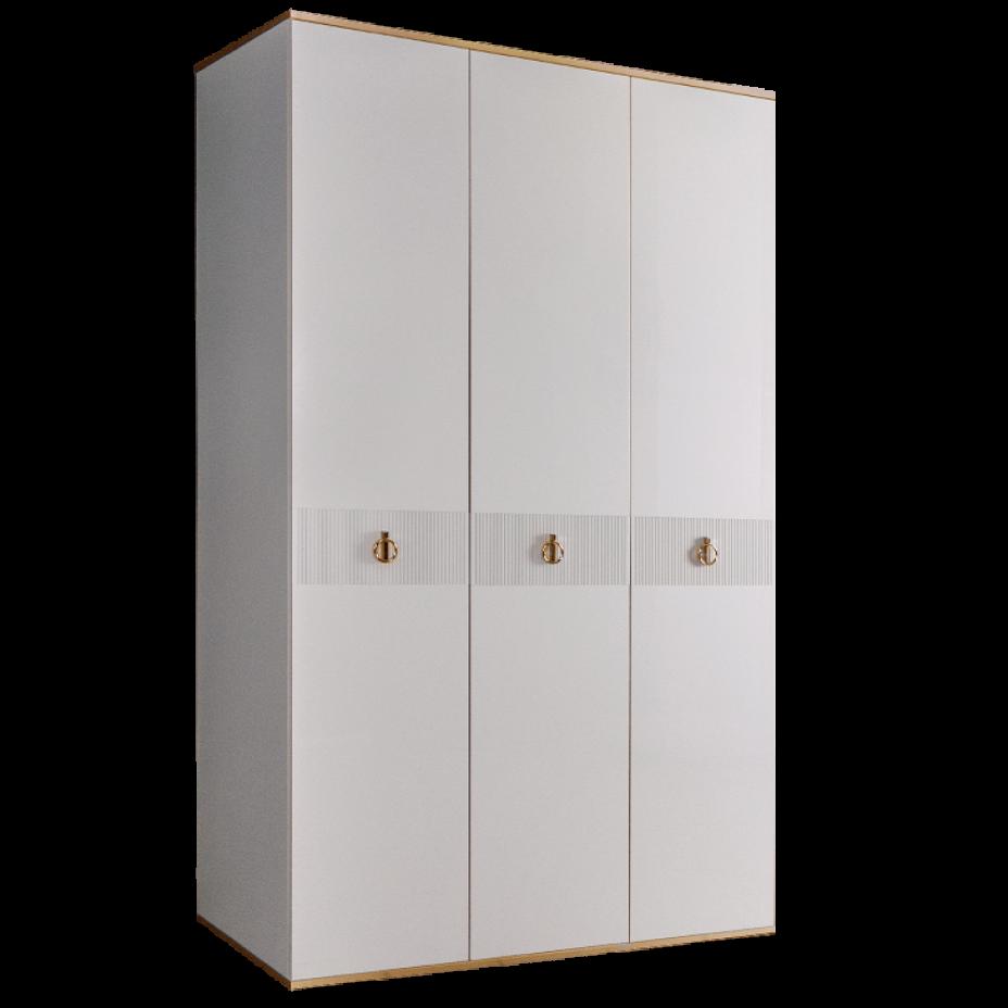 Шкаф 3-дверный для платья и белья (без зеркал) Rimini Solo Белый/Золото