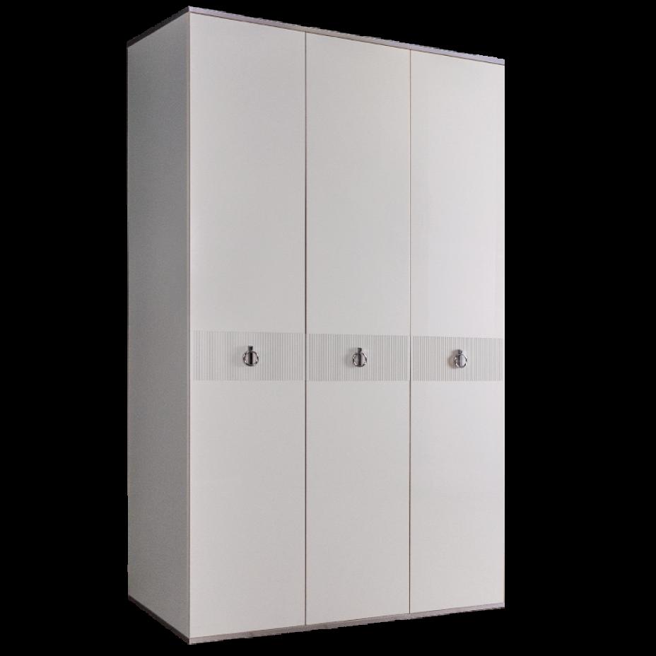 Шкаф 3-дверный для платья и белья (без зеркал) Rimini Solo Белый/Серебро