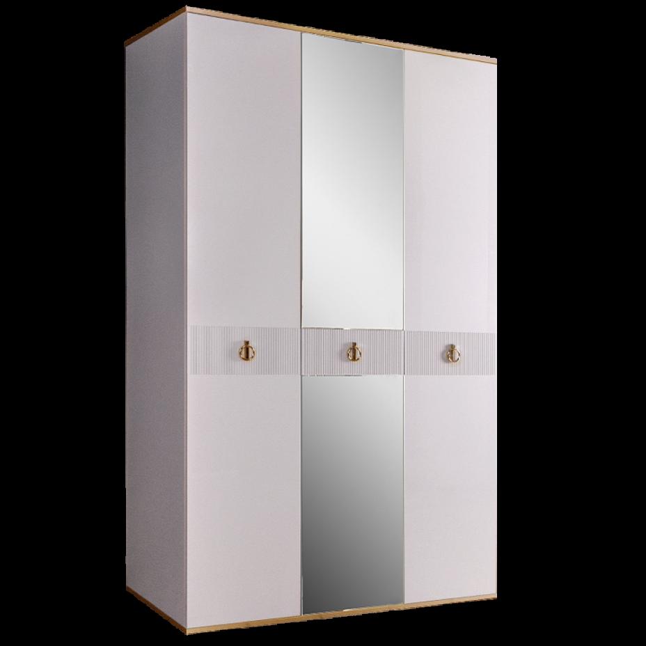 Шкаф 3-дверный для платья и белья (с зеркалом) Rimini Solo Белый/Золото