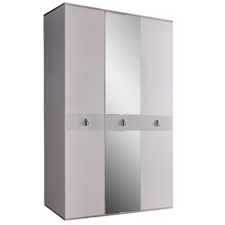 Шкаф 3-дверный для платья и белья (с зеркалом) Rimini Solo Белый/Серебро