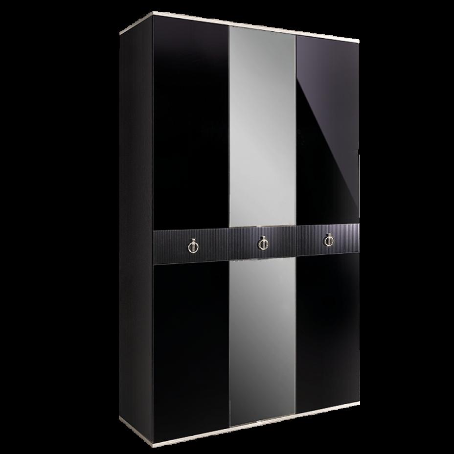 Шкаф 3-дверный для платья и белья (с зеркалом) Rimini Solo Черный/серебро