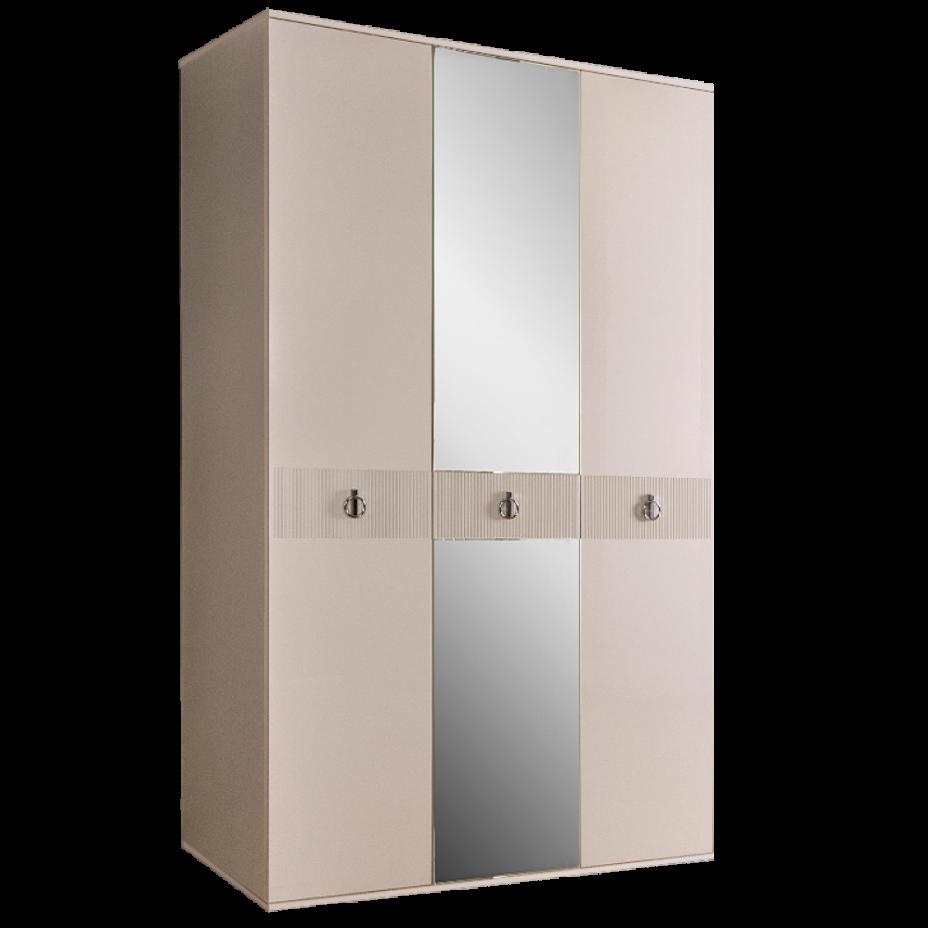 Шкаф 3-дверный для платья и белья (с зеркалом) Rimini Solo Слоновая кость/Серебро