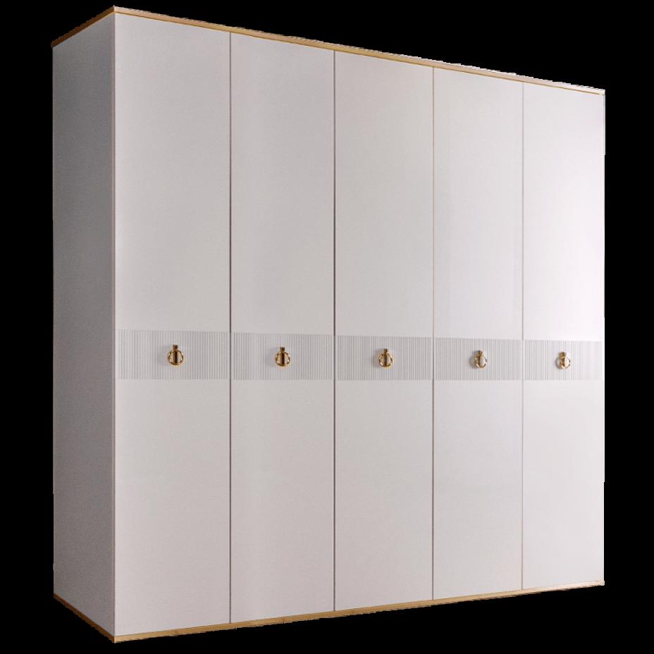 Шкаф 5-дверный для платья и белья (без зеркал) Rimini Solo Белый/Золото