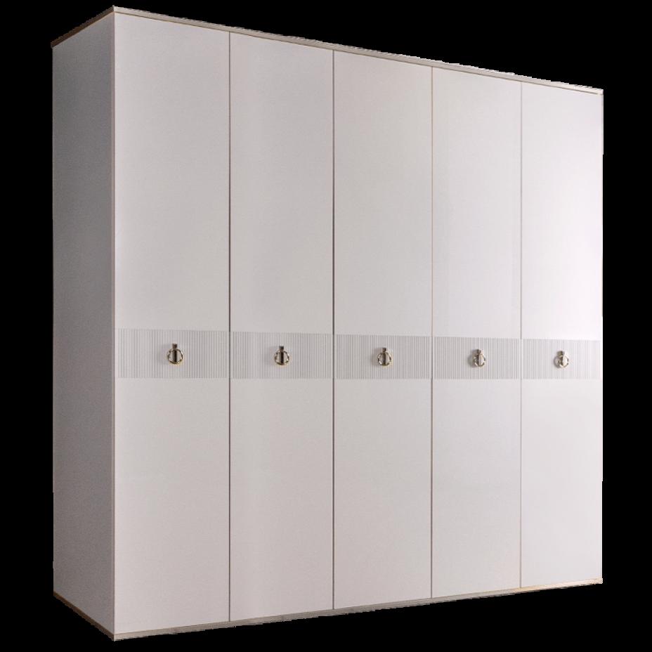 Шкаф 5-дверный для платья и белья (без зеркал) Rimini Solo Белый/Серебро