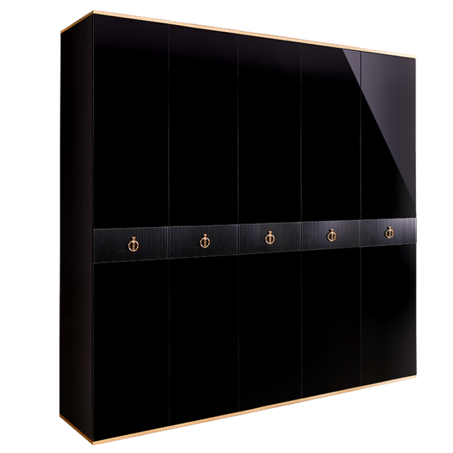 Шкаф 5-дверный для платья и белья (без зеркал) Rimini Solo Черный/золото