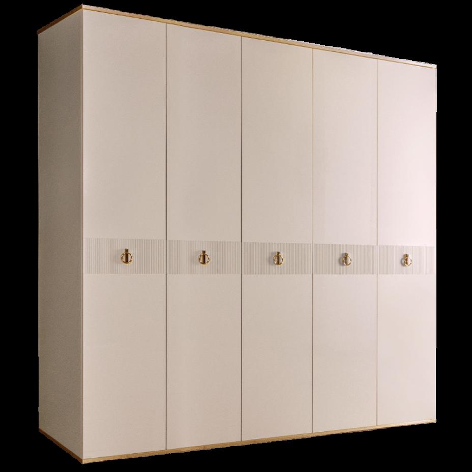 Шкаф 5-дверный для платья и белья (без зеркал) Rimini Solo Слоновая кость/Золото
