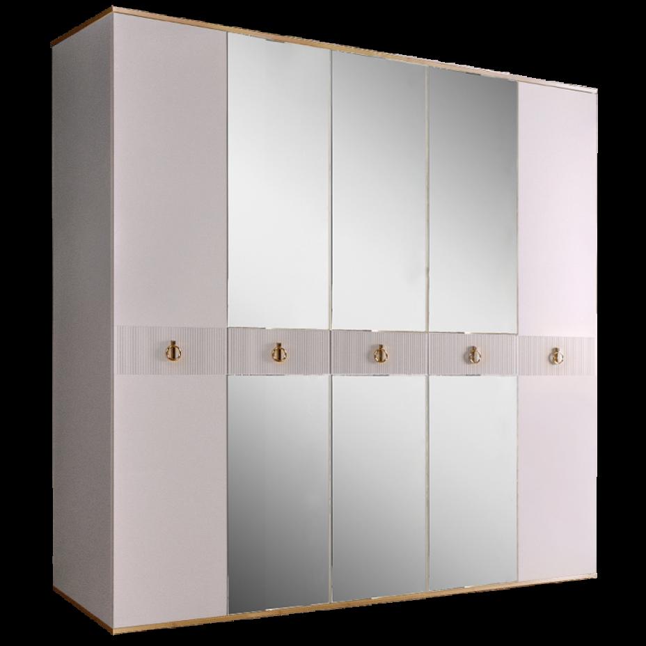 Шкаф 5-дверный для платья и белья (с зеркалами) Rimini Solo Белый/Золото