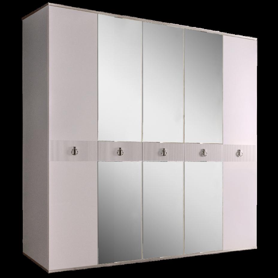 Шкаф 5-дверный для платья и белья (с зеркалами) Rimini Solo Белый/Серебро
