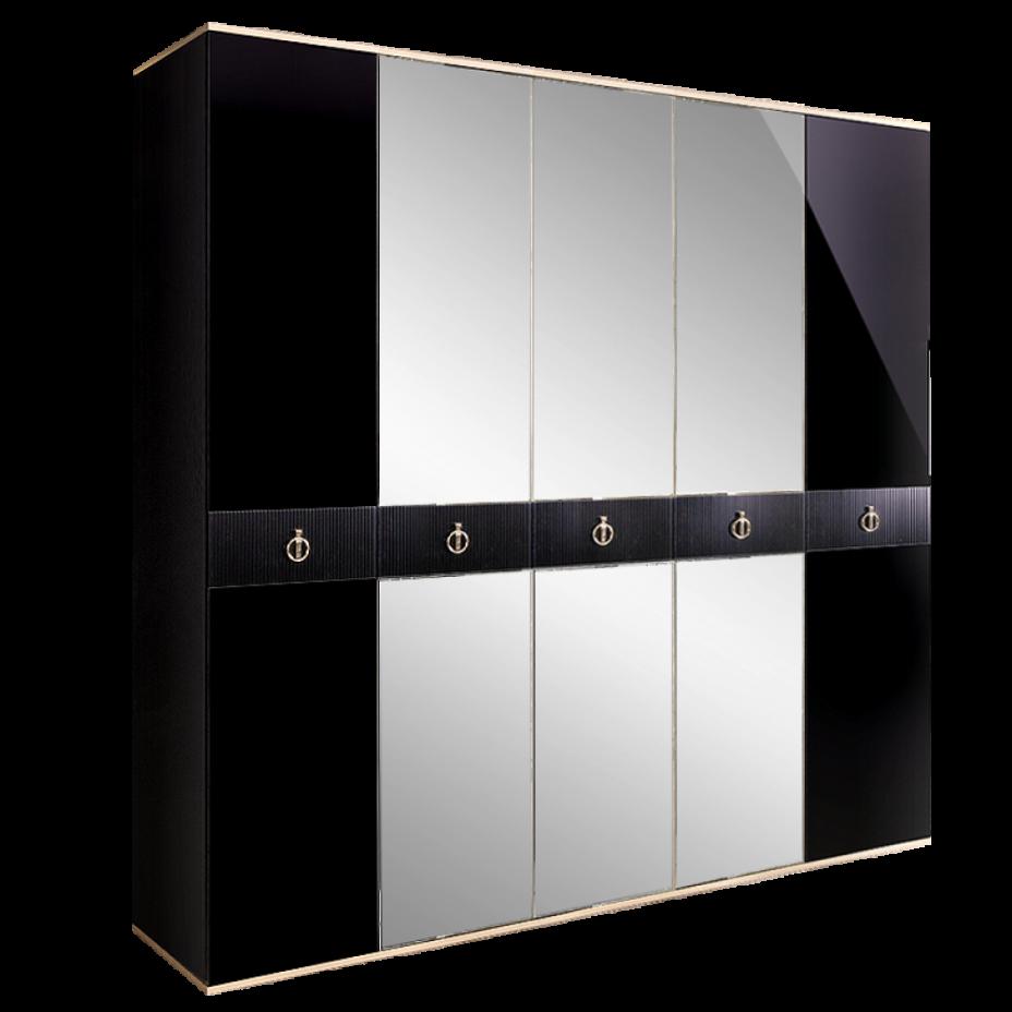 Шкаф 5-дверный для платья и белья (с зеркалами) Rimini Solo Черный/серебро