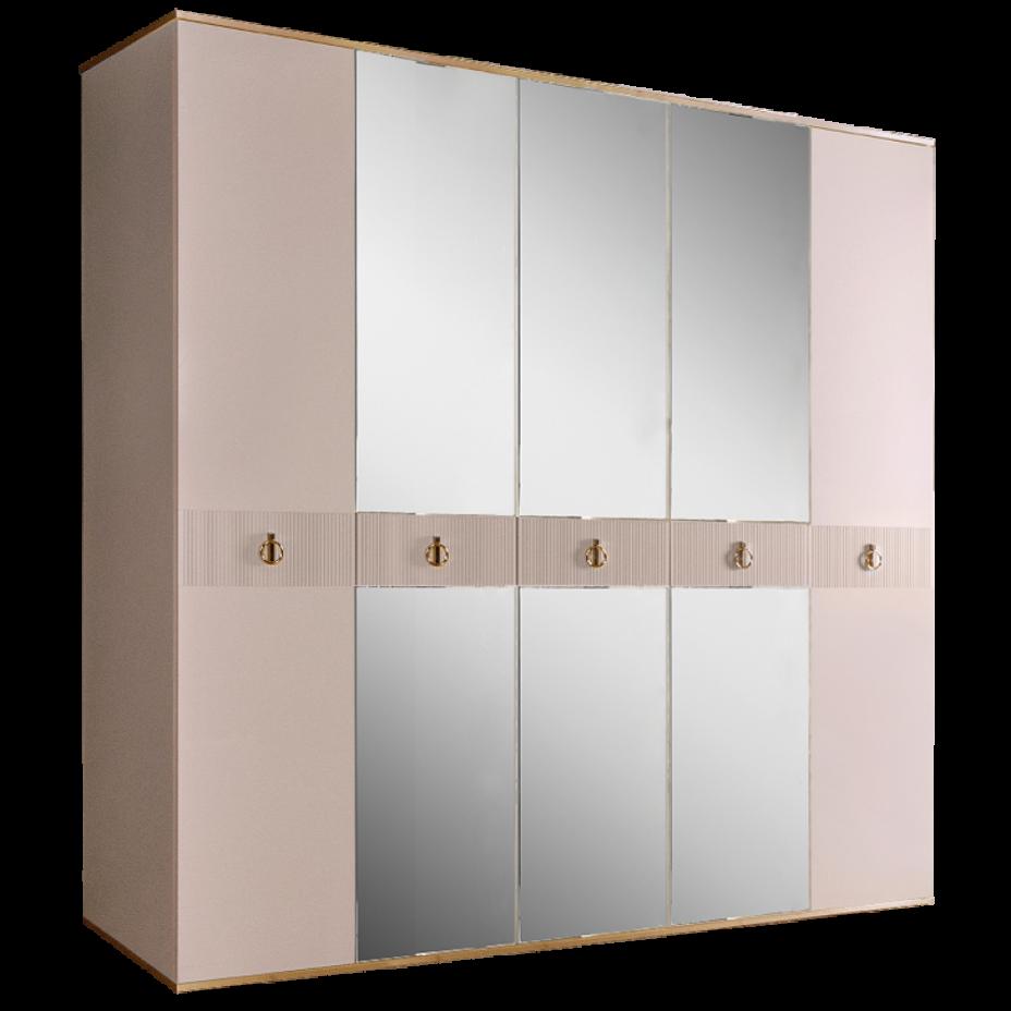 Шкаф 5-дверный для платья и белья (с зеркалами) Rimini Solo Слоновая кость/Золото