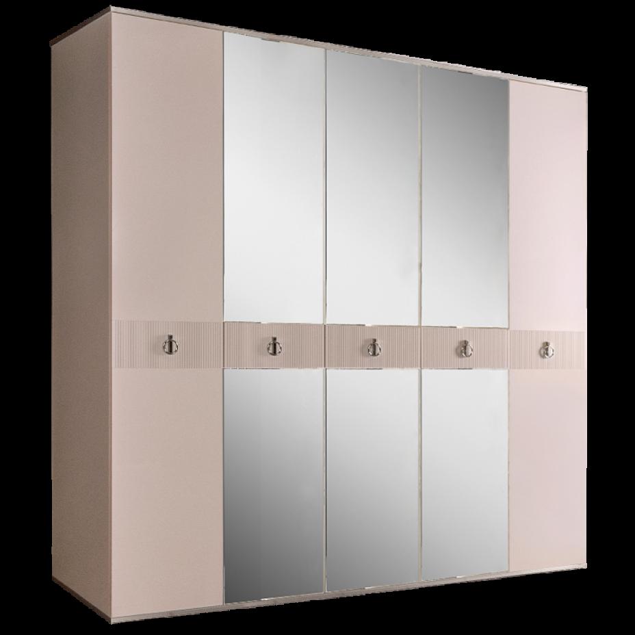 Шкаф 5-дверный для платья и белья (с зеркалами) Rimini Solo Слоновая кость/Серебро