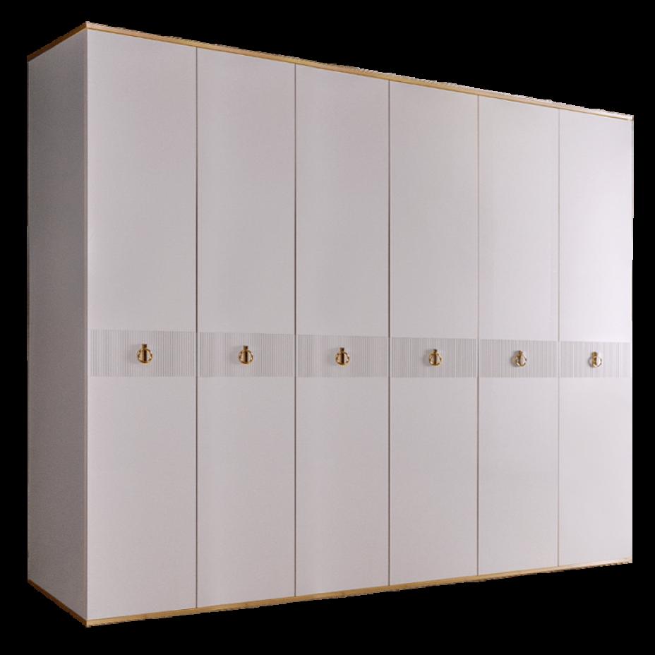 Шкаф 6-дверный для платья и белья (без зеркал) Rimini Solo Белый/Золото