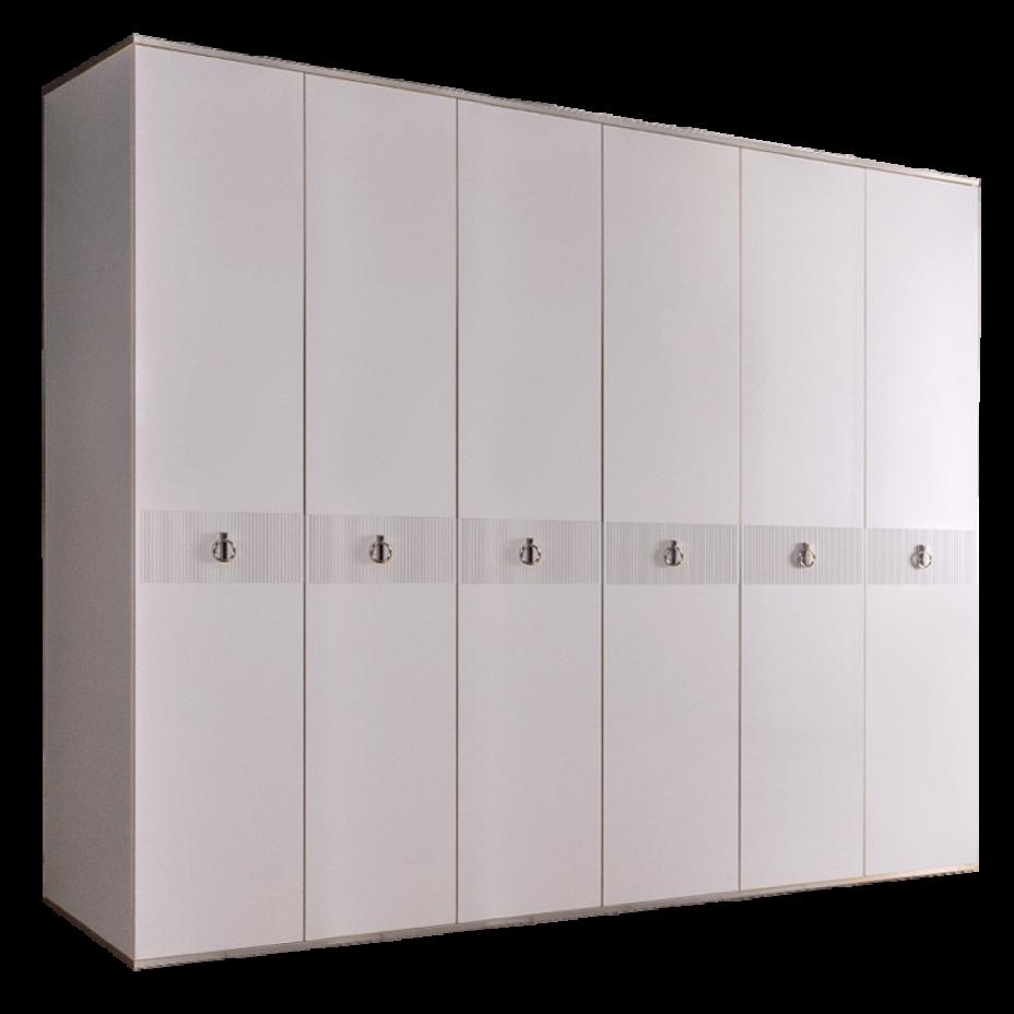 Шкаф 6-дверный для платья и белья (без зеркал) Rimini Solo Белый/Серебро