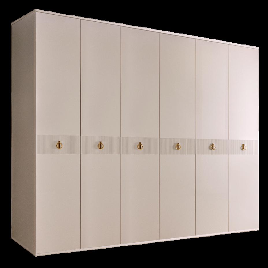Шкаф 6-дверный для платья и белья (без зеркал) Rimini Solo Бежевый/золото