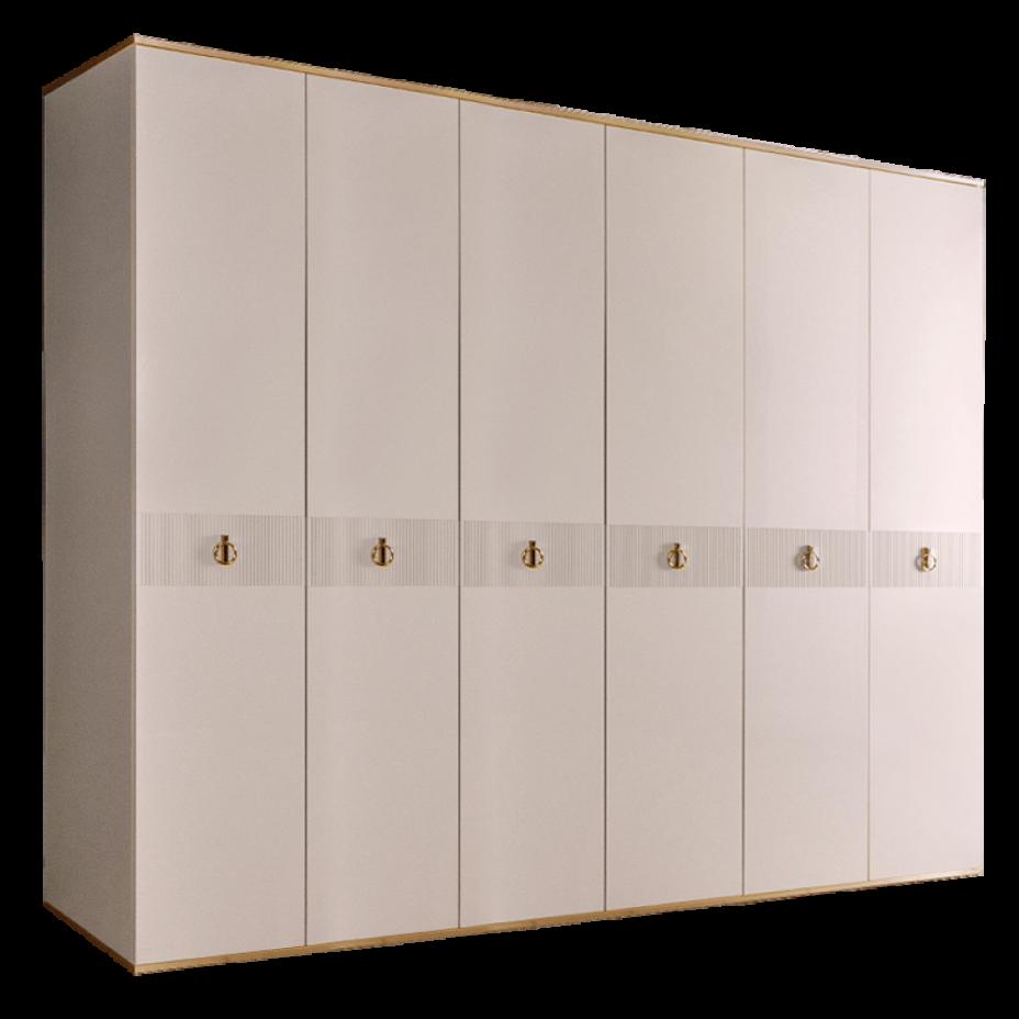 Шкаф 6-дверный для платья и белья (без зеркал) Rimini Solo Слоновая кость/Золото