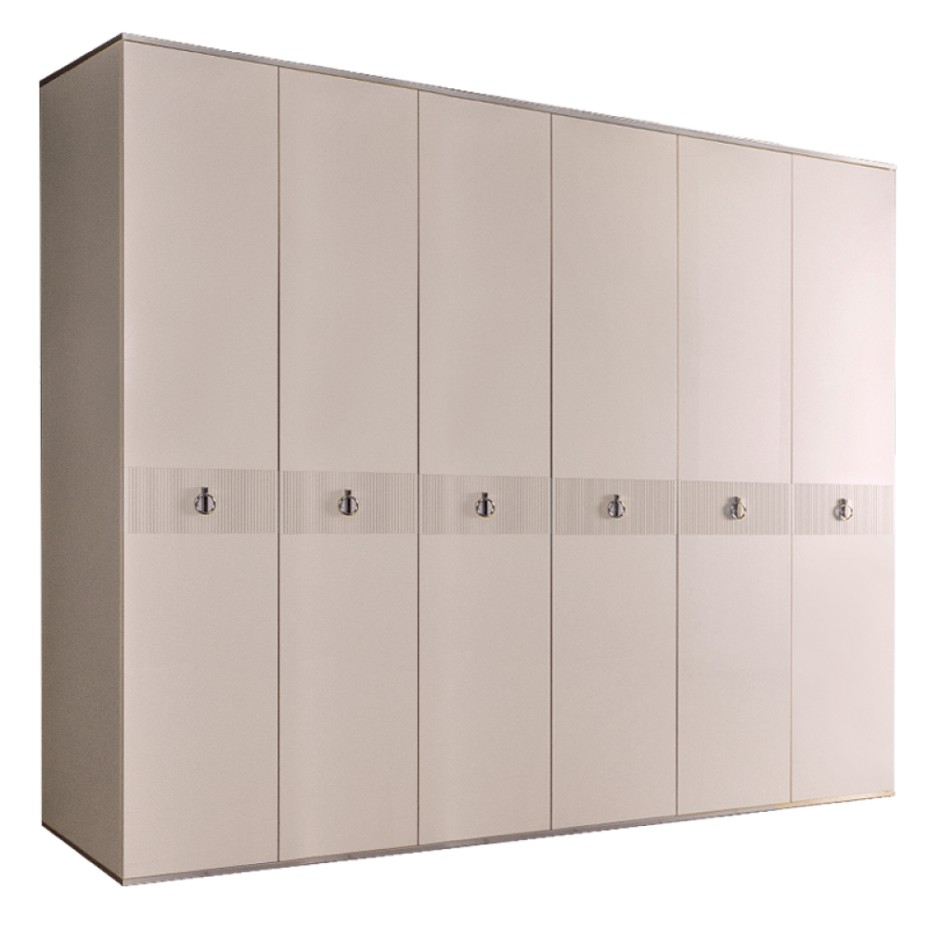 Шкаф 6-дверный для платья и белья (без зеркал) Rimini Solo Слоновая кость/Серебро
