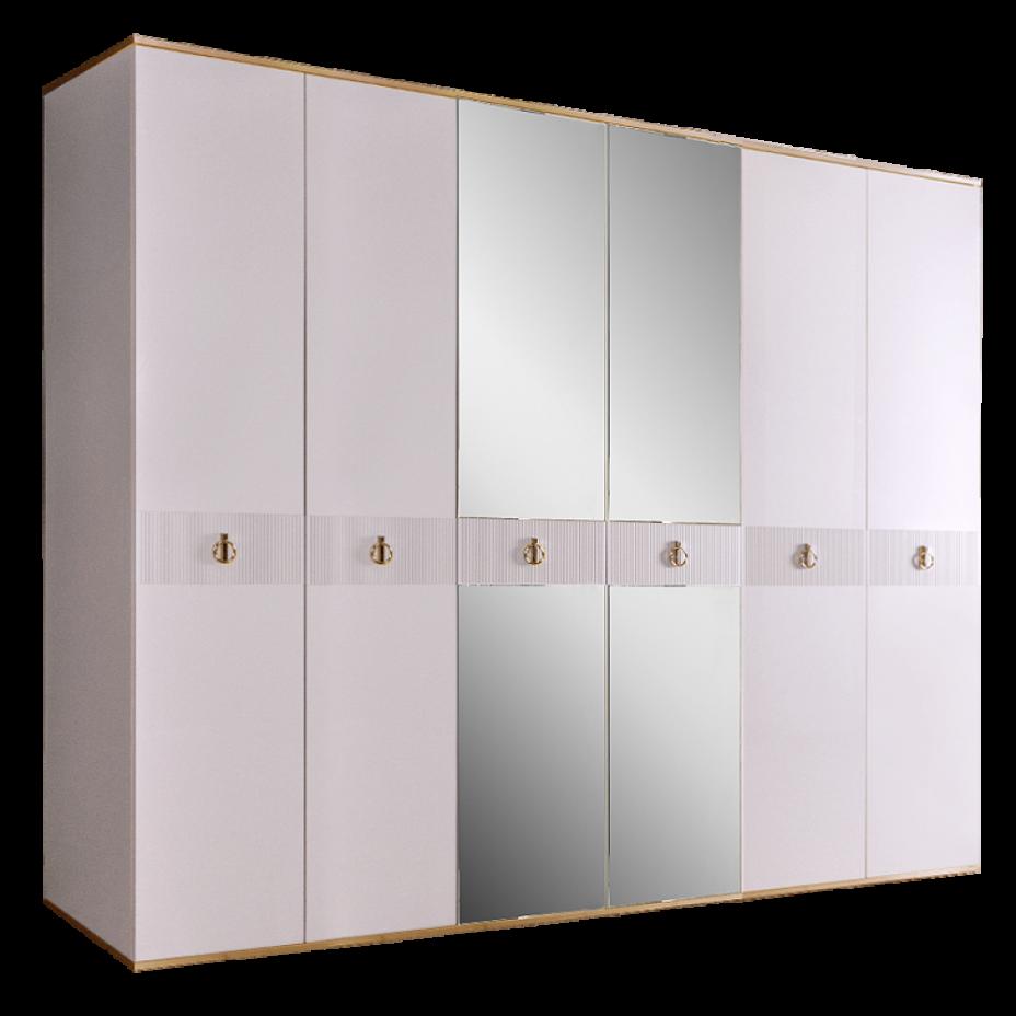Шкаф 6-дверный для платья и белья (с зеркалами) Rimini Solo Белый/Золото