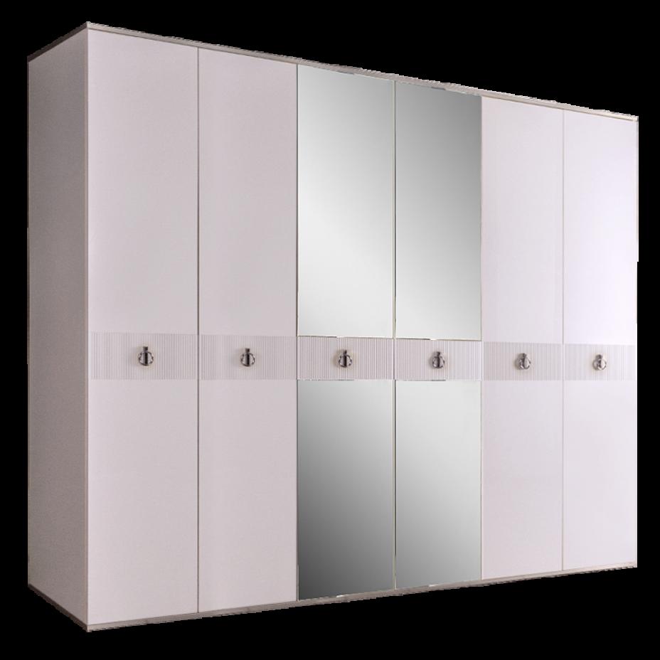 Шкаф 6-дверный для платья и белья (с зеркалами) Rimini Solo Белый/Серебро