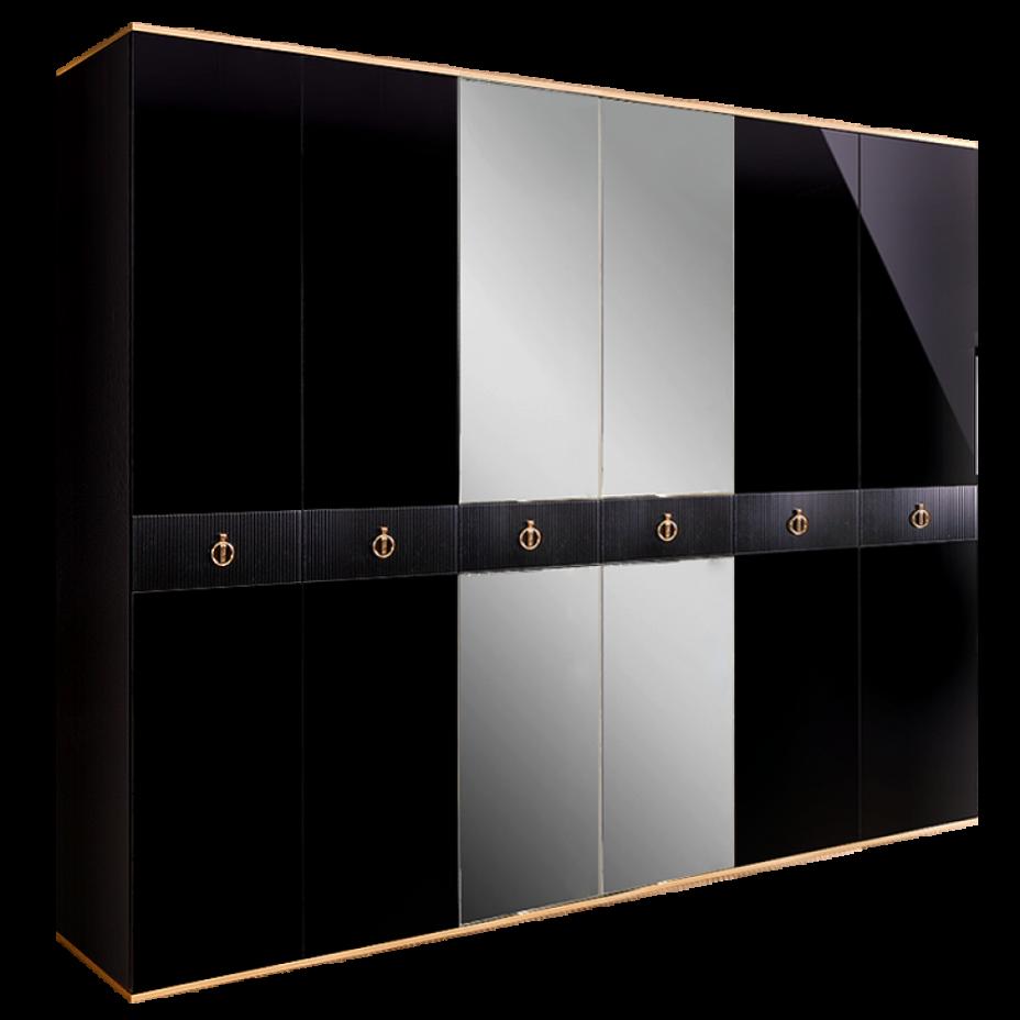 Шкаф 6-дверный для платья и белья (с зеркалами) Rimini Solo Черный/золото