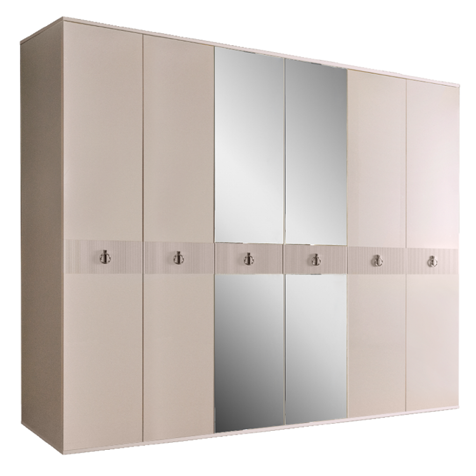 Шкаф 6-дверный для платья и белья (с зеркалами) Rimini Solo Бежевый/серебро