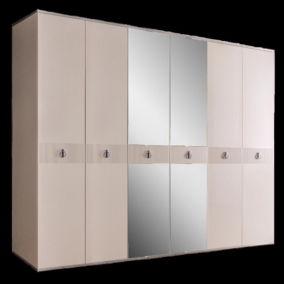 Шкаф 6-дверный для платья и белья (с зеркалами) Rimini Solo Слоновая кость/Серебро