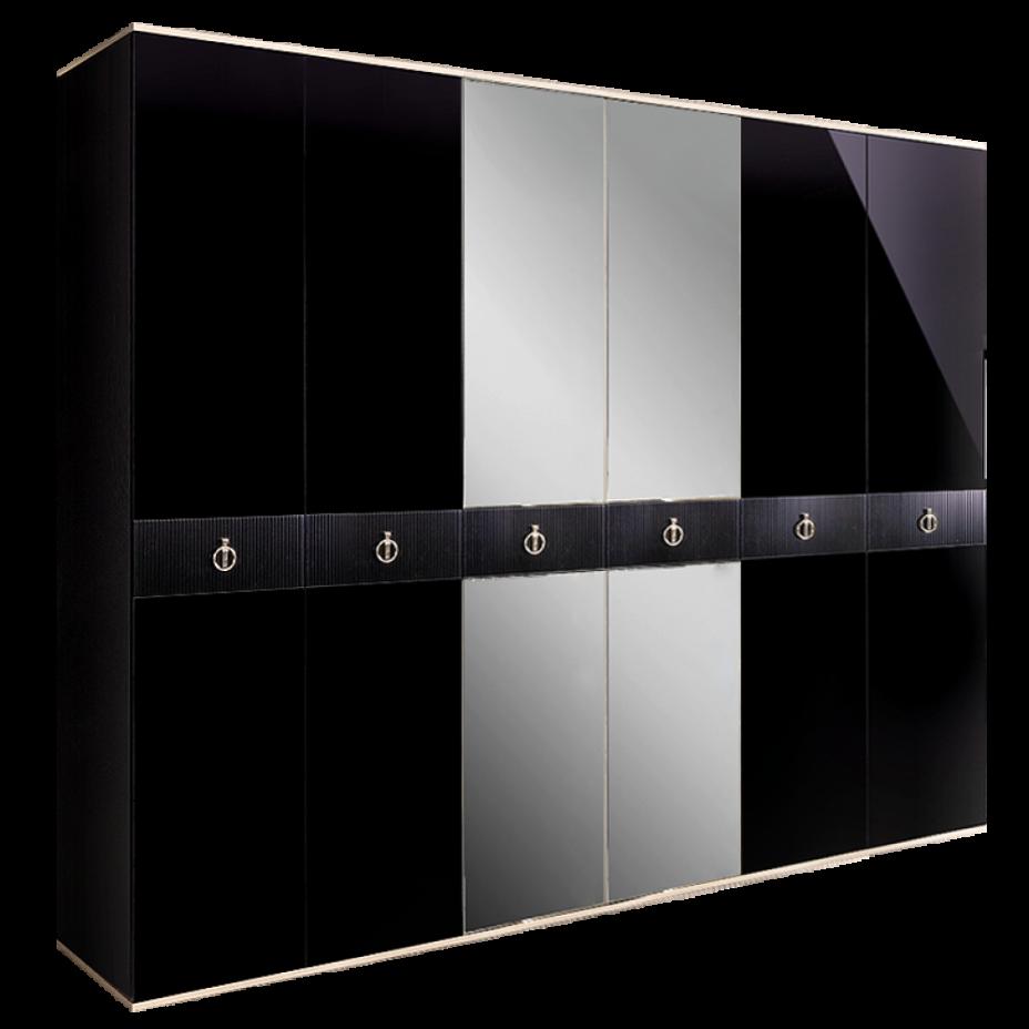 Шкаф 6-дверный для платья и белья (с зеркалами) Rimini Solo Черный/серебро