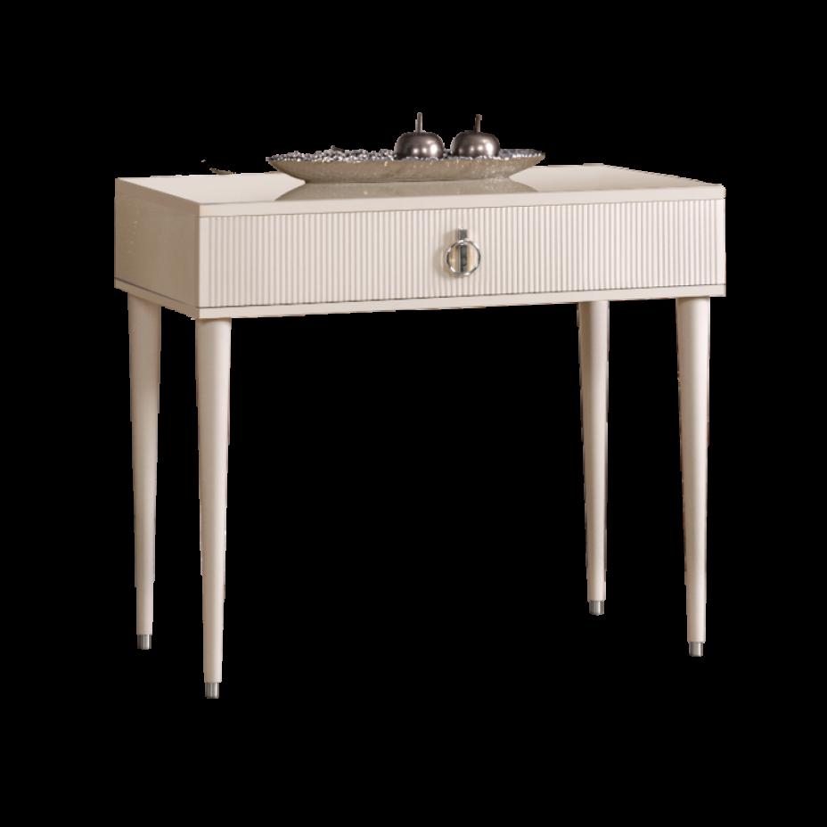 Стол туалетный  узкий Rimini Solo Слоновая кость/Серебро