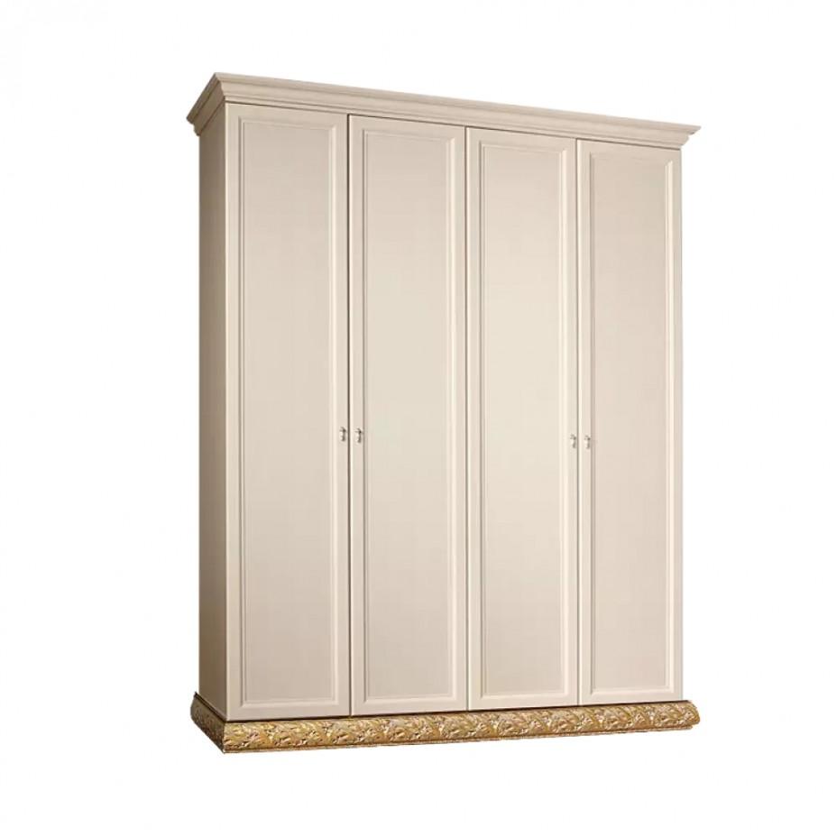 Шкаф 4-дверный для платья и белья (без зеркал) Тиффани (Штрих-золото)