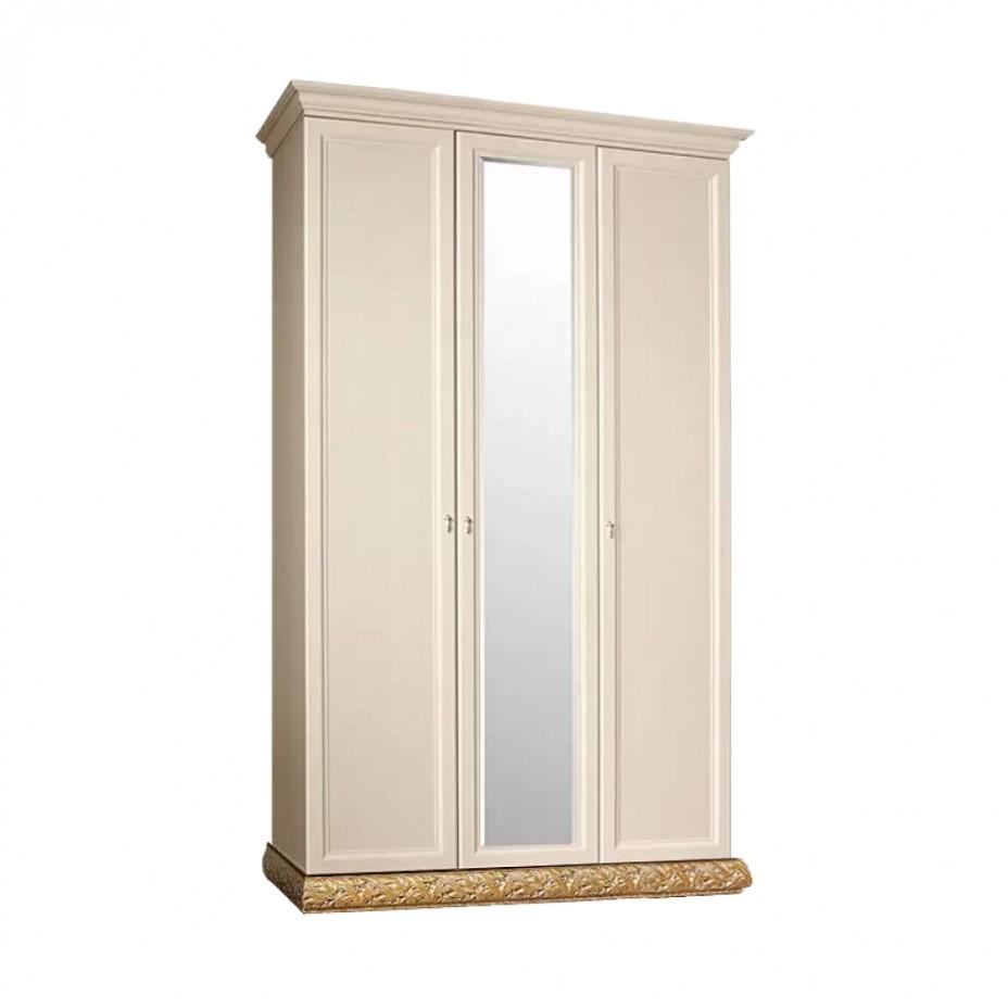 Шкаф 3-дверный для платья и белья (с зеркалом) Тиффани (Штрих-золото)