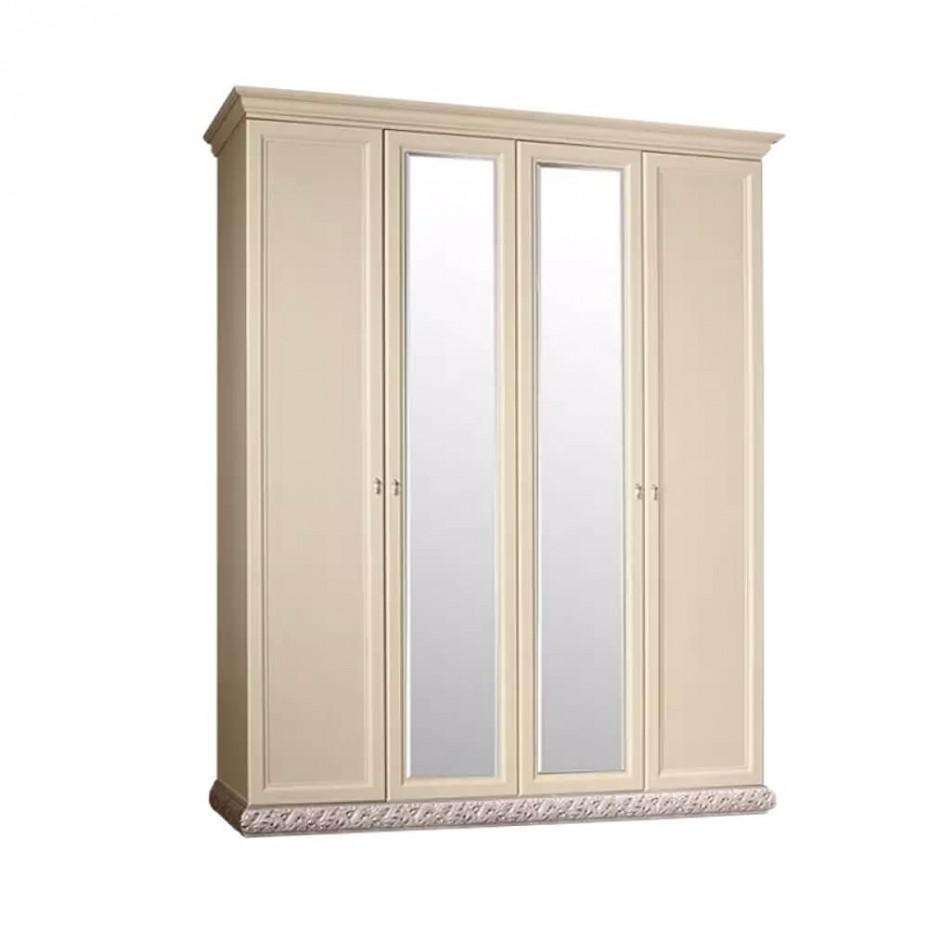 Шкаф 4-дверный для платья и белья (2 зеркала) Тиффани (Штрих-серебро)