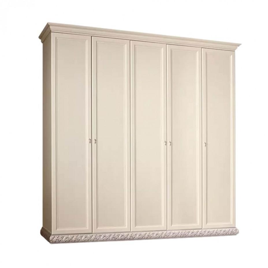 Шкаф 5-дверный для платья и белья (без зеркал) Тиффани (Штрих-серебро)