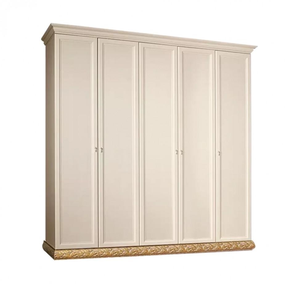 Шкаф 5-дверный для платья и белья (без зеркал) Тиффани (Штрих-золото)